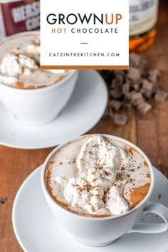 Feeling like you've outgrown your average hot cocoa? Make yourself some grown up hot chocolate from scratch with cocoa, vanilla, salt, milk, and cream! Spiked Hot Chocolate, Hot Chocolate Recipes, Vegetarian Chocolate, Chocolate Chocolate, Desserts Menu, Easy Desserts, Delicious Desserts, Dessert Recipes, Drink Recipes Nonalcoholic