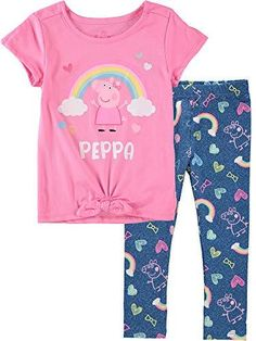 Girls In Leggings, Tops For Leggings, Pajama Outfits, Girl Outfits, Peppa Pig Merchandise, Pig Girl, Find Girls, Athleisure Outfits, Girls Wardrobe