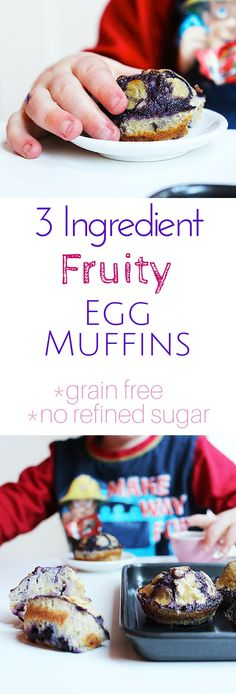 3 Ingredient Fruity Muffins, no refined sugar, grain free, easy to make. Great for baby-led weaning, for kids or adults. (Banana Raspberry Muffin)