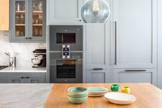 Grand Grey Shaker Kitchen hand painted with Buster and Punch pulls and knobs Grey Kitchens, Bespoke Kitchens, Grey Shaker Kitchen, Kitchen Oven, Kitchen Island, Glazed Glass, Oak Shelves, Single Oven, Grey Glass