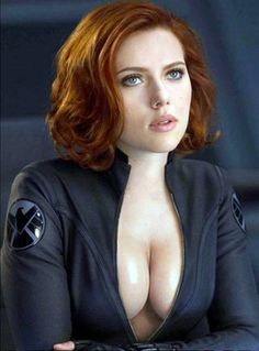 Scarlett Johansson in The Avengers asks for everyone's attention.