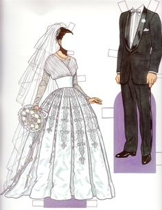 Bride & Groom 1950s - from Bride and Groom Fashion Paper Dolls by Tom Tierney