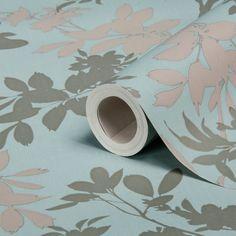 Divine Motif Floral Blue Shimmer Effect Wallpaper | Departments | DIY at B&Q
