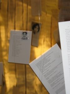 """Beautiful installation in tribute to Salvadoran poet Roque Dalton at Oakland's African American Museum & Library by local artist Victor Cartagena. Hundreds of poems rained down from the ceiling and covered the walls, while a quote over the doorway reminds us: """"Yes, we are not made of 'words alone,' but Dalton's words were banned and he lost his life because of them."""""""