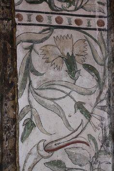 mural painting on tudor style home Faux Painting, Tudor Style, Greek Art, Wall Art Sets, Illustrations, Fresco, Folk Art, Painted Walls, Painted Beams