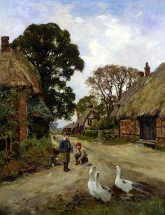 Off To School by Henry John Yeend-King (1855 – 1924, English)