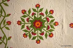 Quilts-Vintage and Antique: Red and Green Antique Quilt, Rose of Sharon variation, Lynn Miller
