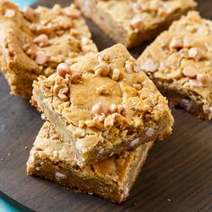 These Butterscotch Toffee Blondies are buttery and chewy and make the perfect alternative to brownies. Watch them disappear in a hurry!