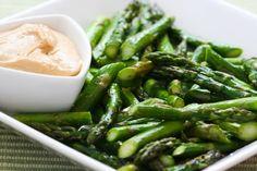 Roasted Asparagus Recipe with Creamy Tahini-Peanut Dipping Sauce. #kalynsrecipes