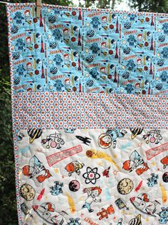Baby Boy Quilt Retro Baby Bedding Space Age Outer by GoBeWonderful