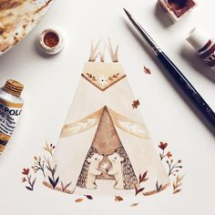 Masking fluid experiment  used it on teepee flowers, hedgehog spikes, flower in hedgehogs paws...it is a useful tool, but I'd say use an old brush for it and wash it with soap water. Thank you all who gave advice yesterday ✨#experiment #maskingfluid #winsorandnewton #hedgehog #teepee #cute #animals #doodle #paint #watercolors #gouache #tiepolo #teepee #camping #nature #flowers #illustration #illustrator #wild #free #love #hedgehoglove