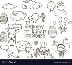 Collection of Easter related doodle. Download a Free Preview or High Quality Adobe Illustrator Ai, EPS, PDF and High Resolution JPEG versions.