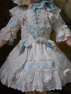 """~~~ Very Beautiful French White Pique Gown with Matching Bonnet / 17"""" ~~~"""