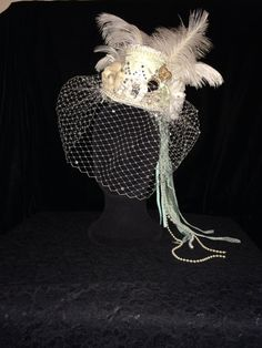 custom oneofakind mint green and white mini top hat by EmpireCoutureCostume