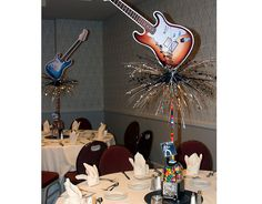 Rock and Roll Theme Centerpiece Rock Star Theme, Rock Star Party, Music Centerpieces, Service Awards, Work Party, Bar Mitzvah, Sweet 16, Rock N Roll, Rolls