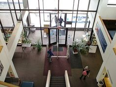 Decatur, IL: Staley Library, Millikin University. Looking down towards the library entrance.