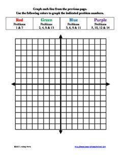 Graphing Linear Equations with Color Worksheet | Colors, Equation ...