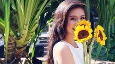 10 things you need to know about Gabbi Garcia. Gabbi Garcia, Subtle Cat Eye, Thin Eyeliner, Feather Brows, Rose Gold Eyeshadow, Sunkissed Skin, Half Ponytail, Bronze Skin, Sleek Hairstyles