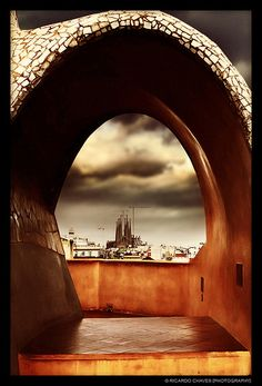 View of Sagrada Familia from Casa Milà's rooftop (La Pedrera). Barcelona, Spain...  Ricardo Chaves Photography.