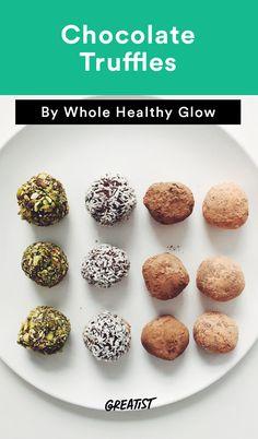 5. Chocolate Truffles #greatist http://greatist.com/eat/easy-three-ingredient-desserts