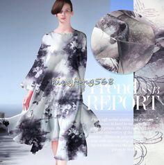 Designer 100% Natural mulberry silk hard semipermeable grid clothing fabric satin ink flower dresses 1m WG26 #Affiliate
