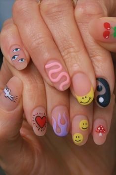Multicolored Nails, Dream Hair, Insta Story, Girly Things, Nail Art, Clothing, Life, Accessories, Finger Nails