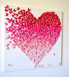 3D Pink Ombre Butterfly Heart/ 3D Butterfly Art / Nursery Decor /Girl's  Room Art / Engagement / Wedding Gift /Romantic Art - Made to Order