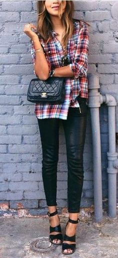 Pair a casual plaid shirt with glam leather pants/leggings. Add heels to dress it up more, or flats to keep it more casual.