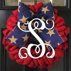 Items similar to Americana Burlap Monogram Wreath Burlap Monogram, Monogram Wreath, Burlap Bows, Burlap Wreaths, Patriotic Wreath, Patriotic Decorations, 4th Of July Wreath, Holiday Decorations, Wreath Crafts
