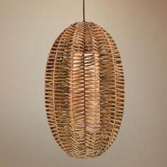 Antigua Rattan Oval Pendant Light | LampsPlus.com