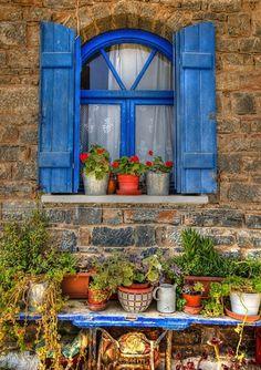 "abriendo-puertas: "" A cretan Window. By Jonathan Parkes "" Blue Shutters, Window Shutters, Window Boxes, Old Windows, Windows And Doors, Fachada Colonial, Window View, Through The Window, Doorway"