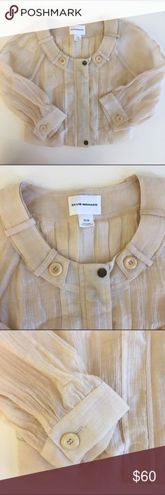 Club Monaco cream crinkled top A most beautiful top that can also work as a jacket. Lovely accent of metallic buttons, zip and gorgeous collar. 70% rayon, 30% nylon. Club Monaco Tops Blouses