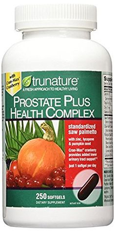 TruNature Prostate Plus Health Complex - Saw Palmetto with Zinc, Lycopene, Pumpkin Seed - 250 Softgels  250 softgels  Saw Palmetto  Zinc, Lycopene and Pumpkin Seed  For Adults - One softgel daily with a meal as a dietary supplement