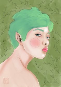 A digital painting and drawing of a green haired dryad.