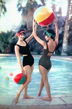 Fashion Models in swimwear, 1960. The picture shows the style of swim wear that could have been wore back in the 1960's