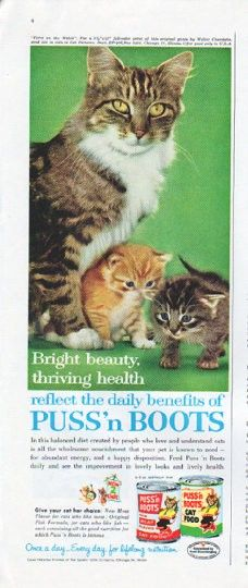 """Description: 1961 PUSS 'N BOOTS CAT FOOD vintage magazine advertisement """"Bright beauty"""" -- Bright beauty, thriving health reflect the daily benefits of Puss 'n Boots ... ad photo """"Three on the Watch"""" by Walter Chandoha -- Size: The dimensions of the half-page advertisement are approximately 5.25 inches x 13.5 inches (13.25 cm x 34.25 cm). Condition: This original vintage half-page advertisement is in Excellent Condition unless otherwise noted."""