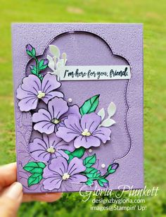 Blended Seasons stamp set and coordinating dies - Gloria Plunkett Purple Cards, Friendship Cards, Stamping Up Cards, Season Colors, Flower Cards, Scrapbook Cards, Scrapbooking, Greeting Cards Handmade, Homemade Cards