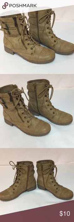 Guess boots sz 7.5 Tan/camel color brown short heel lace up boots.  CUTE!!! I honestly have no idea when I bought these but pretty sure I only wore once or twice. Just found them while emptying my closet for Posh! I'm not seeing imperfections or anything wrong with them.  They just feel a bit small on me now.  Probably another impulse purchase 😩 Guess Shoes Ankle Boots & Booties