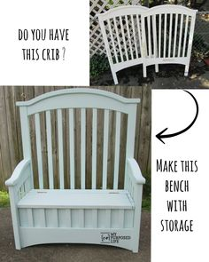 Crib into Toy Box Bench My Repurposed Life Recalled cribs get a new purpose in life, including this bench with storage.My Repurposed Life Recalled cribs get a new purpose in life, including this bench with storage. Western Furniture, Bench Furniture, Refurbished Furniture, Repurposed Furniture, Shabby Chic Furniture, Home Furniture, Outdoor Furniture, Outdoor Decor, Furniture Ideas