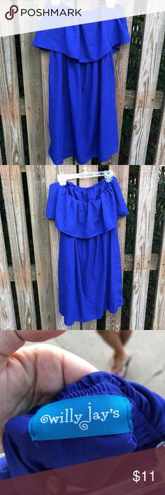 STRAPLESS BLUE COCKTAIL DRESS - M! Super cute royal blue strapless ruffle dress! Dress is down with flat sandals or dress it up with heels! Veryyy small spot on ruffle as seen in picture but not very noticeable and might come out; I haven't tried! Only worn once to a cocktail party! Nordstrom Dresses Mini