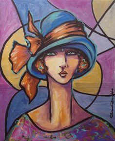 1926, Casino de Brighton - Peinture,  50x61 cm ©2014 par Dam Domido -                                                            Art déco, Toile, Femmes, portrait rétro, style art déco contemporain, art nouveau, portrait art déco, dam domido painting