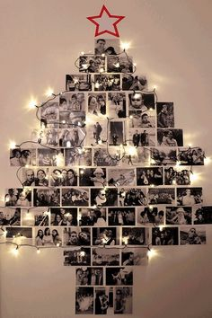 Wall mounted Christmas tree from photographs! Great way to display past Christmas memories. Great idea for holiday parties, showers & weddings!