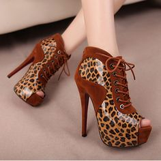 Brown Leopard Lace Peep Toe High Heeled Boots