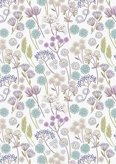 Hedgerow Flowers on White Mist  A57.1 - MAKE A WISH - Lewis and Irene - 1 yard