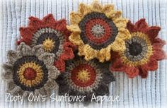 Zooty Owl's Crafty Blog: Crochet Sunflower Applique