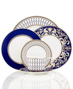 Wedgwood Dinnerware, Renaissance Gold Collection - Fine China - Dining Entertaining - Macy's Bridal and Wedding Registry Renaissance, Wedding China, China Sets, Dinner Sets, Dinner Ware, Dinner Plates, Royal Copenhagen, Dinnerware Sets, Fine China Dinnerware