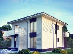 Model casa 203 House Layout Plans, Modern House Plans, House Layouts, House Outside Design, House Design, Diy Home Bar, Design Case, Shed, Villa