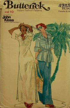 Designer, loose-fitting dress in evening length or top has all-in-one pointed collar and band, forward shoulder seams, patch pockets, front placket opening, above-elbow length sleeves with turned-back duffs, and topstitch trim. with or without self tie belt or side slits. Straight-legged pants...