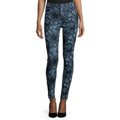 7 For All Mankind The High-Waist Skinny Jeans ($198) ❤ liked on Polyvore featuring jeans, denim blue floral, high-waisted skinny jeans, super skinny jeans, fitted jeans, high-waisted jeans and highwaisted jeans