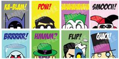 """Super Hero Batman action in EIGHT original 8.5"""" x 8.5"""" card stock prints signed by the . Complete with Batman, Robin, Riddler, Joker, Harley Quinn, Mr Freeze, Two Face & the Penguin"""